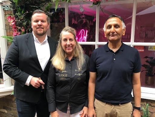 Kolja Kukuk, Sarah Saunders and Paresh Patel at the 2021 Cigar Smoking World Championship.