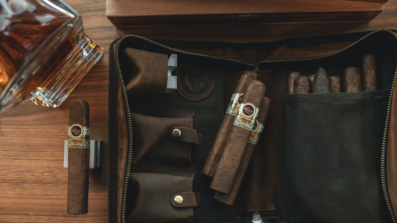 Cigars in a leather case